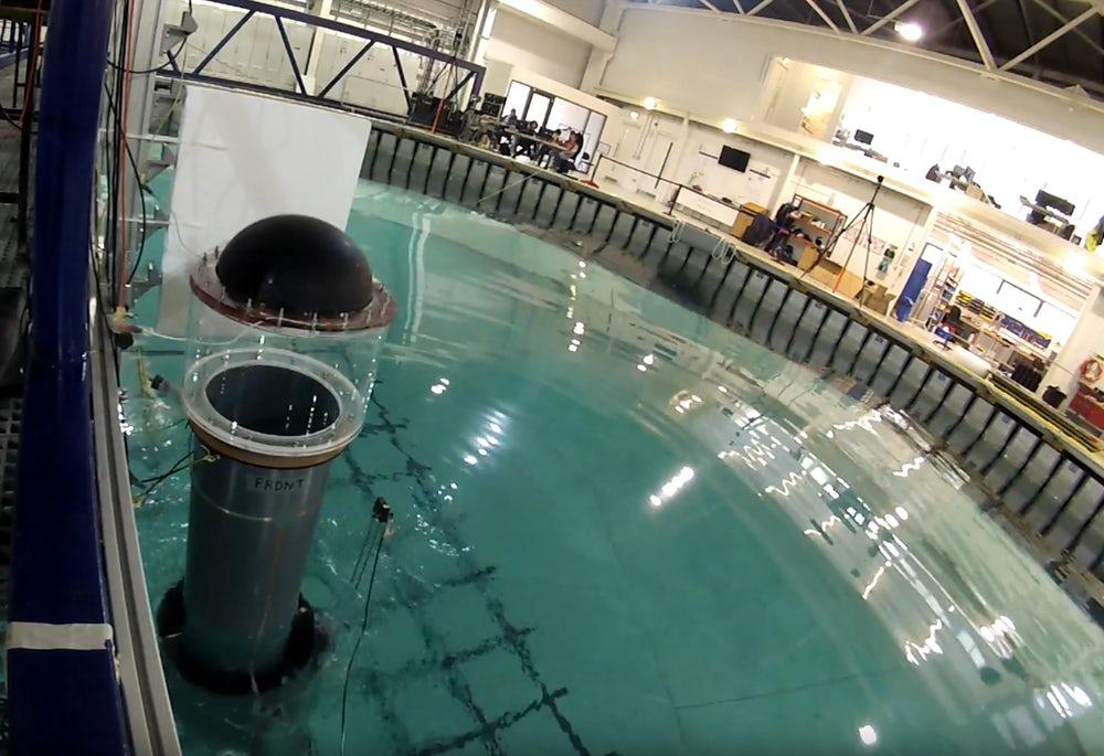A prototype DEG (left), at the University of Edinburgh's FloWave Facility
