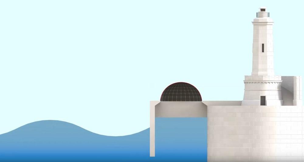 An illustration depicting a shore-based full-size DEG