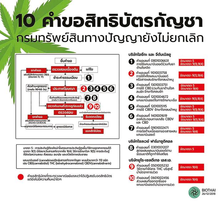 10 คำขอสิทธิบัตรกัญชา กรมทรัพย์สินทางปัญญายังไม่ยกเลิก