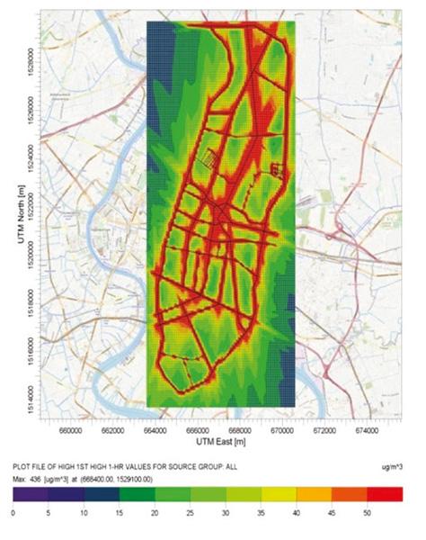 ความเข้มข้นฝุ่น PM 2.5 ในส่วนหนึ่งของเขตพื้นที่กรุงเทพมหานคร