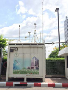 รูปที่ 4 สถานีตรวจวัดคุณภาพอากาศแบบมาตรฐาน ของกรุงเทพมหานคร ที่สำนักงานเขตราชเทวี